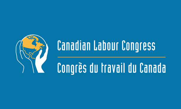 White and yellow Canadian Labour Congress logo on blue background