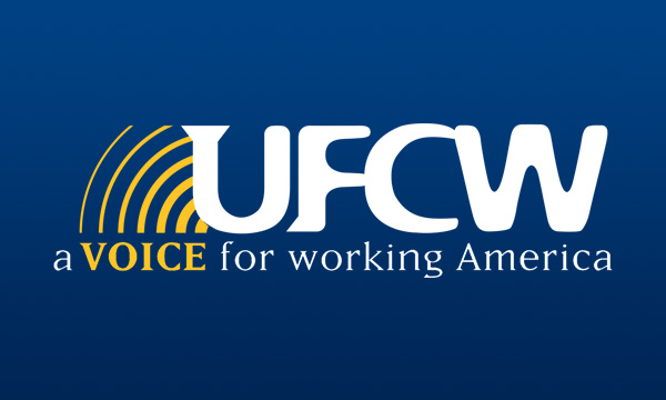 UFCW International white and yellow logo on a blue background
