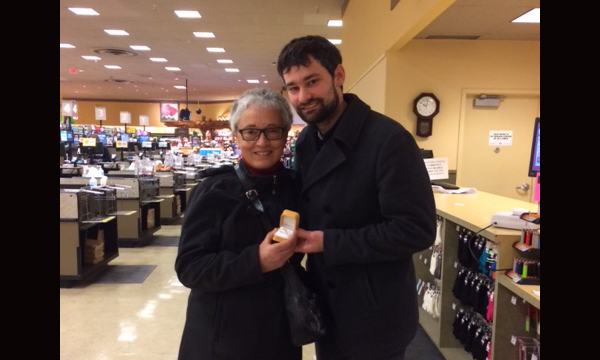 Gina with relief Union Rep Richard Roach who presented her new retirement ring