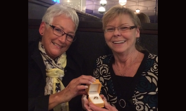 Steward Hermina Pearce presents Debbie with her retirement ring