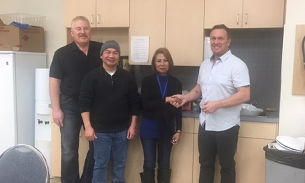 (L to R) Stephen plant manager, Carmelo Shop Steward, Stephanie, and David Union Rep were all on hand for her send off