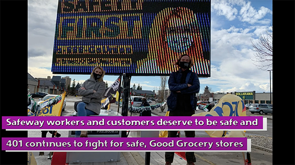 UFCW Local 401 President Tom Hesse and Secretary-Treasurer Richelle Stewart at the Oliver Square Safeway